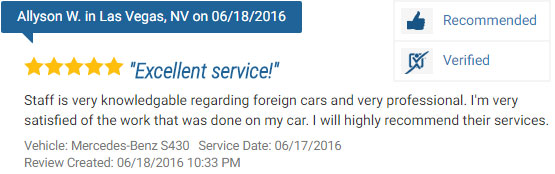 Five Star Review of a Mercedes-Benz Repair Service