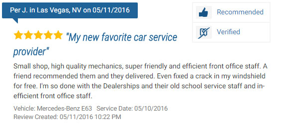 Five Star Review for an Auto Repair Shop in Las Vegas