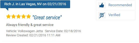 Five Star Review for a Volkswagen Repair Service