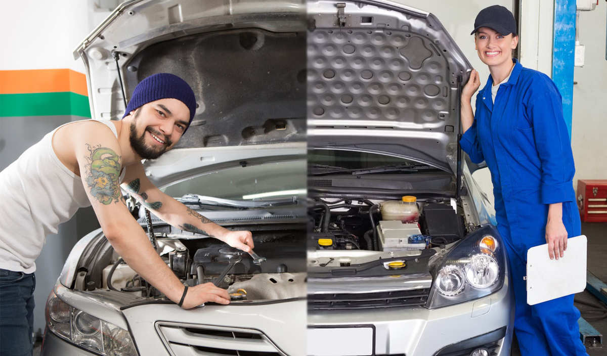 a mechanic working on the left and a technician doing diagnostics on the right